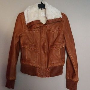 Faux leather tan bomber style jacket